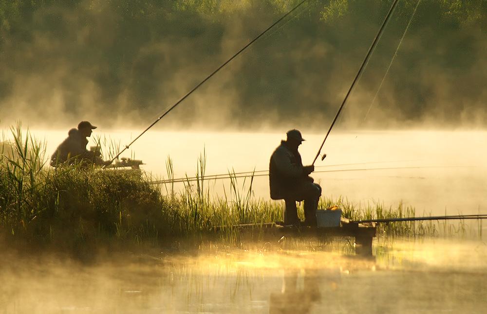 картинка рыбака на берегу